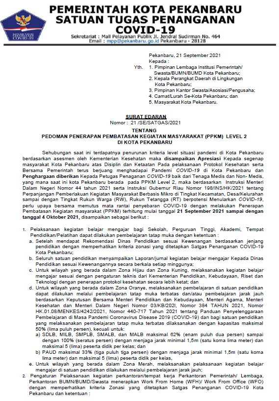 SURAT EDARAN TENTANG PEDOMAN PENERAPAN PPKM LEVEL II DI PEKANBARU (21/SE/SATGAS/2021)