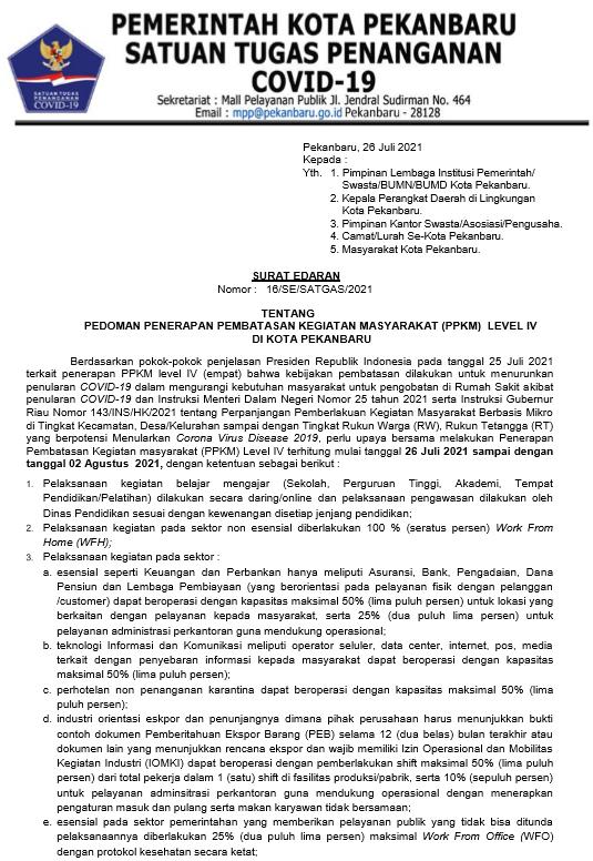 SURAT EDARAN TENTANG PEDOMAN PENERAPAN PPKM LEVEL IV DI PEKANBARU (16/SE/SATGAS/2021)