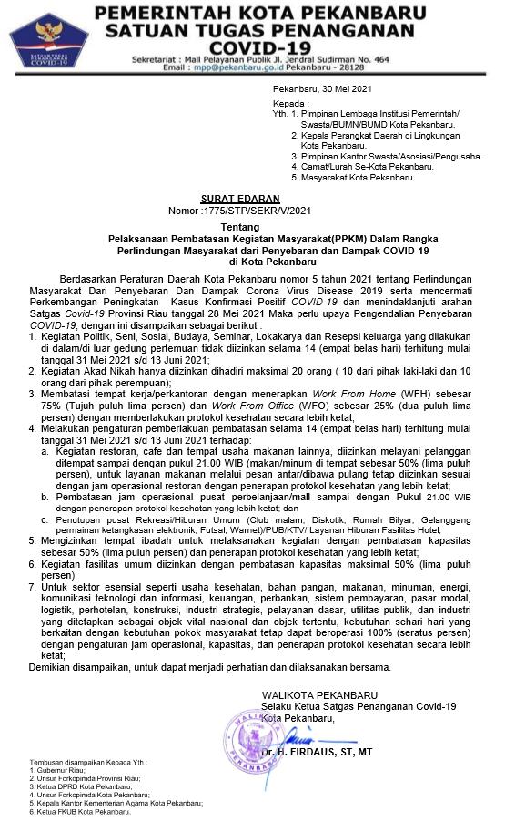 Image : Surat Edaran Tentang Pelaksanaan Pembatasan Kegiatan Masyarakat (PPKM) Dalam Rangka Perlindungan Masyarakat dari Penyebaran dan Dampak COVID-19  di Kota Pekanbaru