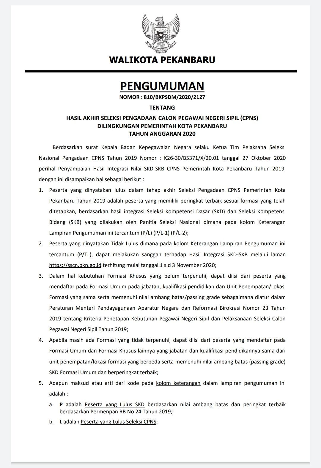 Image : 342 Peserta Lulus CPNS Tahun 2019 Kota Pekanbaru